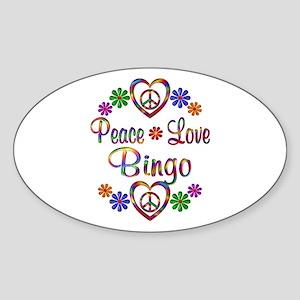 Peace Love Bingo Sticker (Oval)
