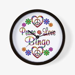 Peace Love Bingo Wall Clock