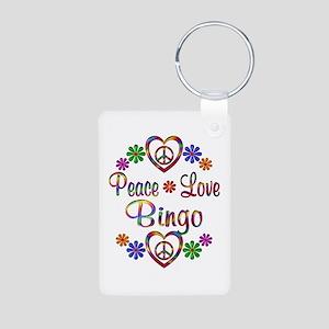 Peace Love Bingo Aluminum Photo Keychain