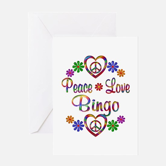 Peace Love Bingo Greeting Card