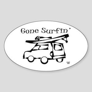 Gone Surfing Oval Sticker