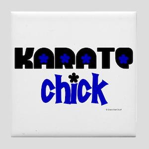 Karate Chick (Blue Ink) Tile Coaster