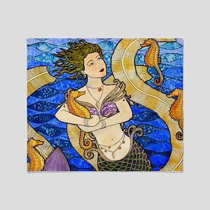 Seahorse Mermaid Throw Blanket
