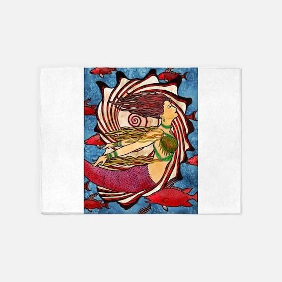 Seashell Mermaid 5'x7'Area Rug