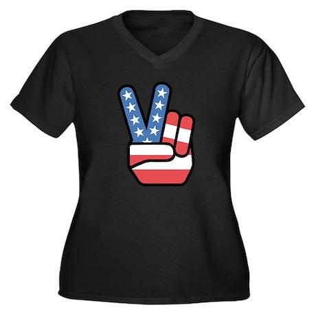 Patriotic Pe Women's Plus Size V-Neck Dark T-Shirt