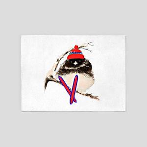 Watercolor Junco Bird Skier Fun Animal Art 5'x7'Ar