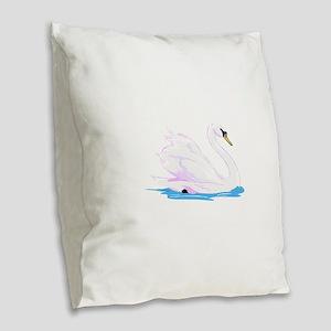 swan Burlap Throw Pillow