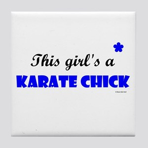 This Girl's A Karate Chick (Clear Sky) Tile Coaste