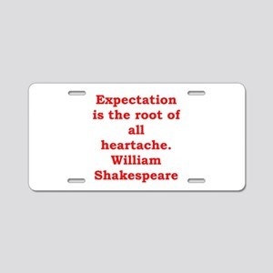 william shakespeare Aluminum License Plate