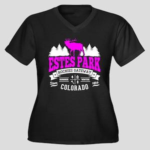Estes Park V Women's Plus Size V-Neck Dark T-Shirt