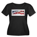 America-W Women's Plus Size Scoop Neck Dark T-Shir