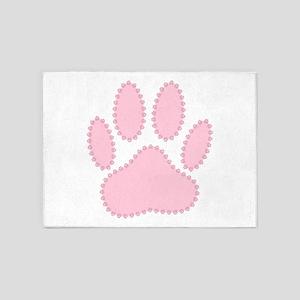 100% Pink Dog Pawprint 5'x7'Area Rug
