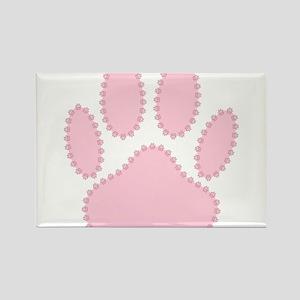 100% Pink Dog Pawprint Magnets