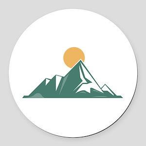 Sunrise Mountain Round Car Magnet