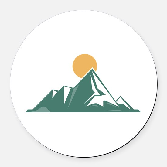Sunrise Mountain Round Car Magnet