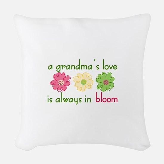 Grandmas Love Woven Throw Pillow