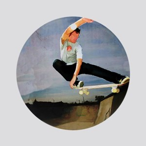 Skateboarding the Wall Ornament (Round)