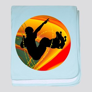 Skateboarding Silhouette in the Bowl. baby blanket