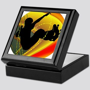 Skateboarding Silhouette in the Bowl. Keepsake Box
