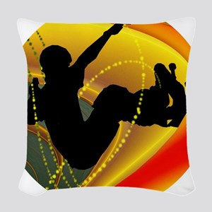 Skateboarding Silhouette in th Woven Throw Pillow