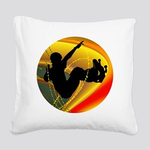 Skateboarding Silhouette in t Square Canvas Pillow