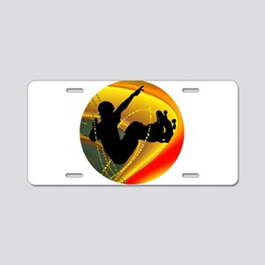 Skateboarding Silhouette in Aluminum License Plate