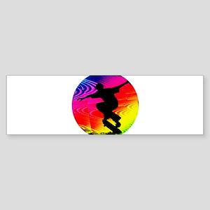 Skateboarding on Rainbow Grunge Bumper Sticker