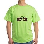 Skull & Crossbones on Red Banner Green T-Shirt