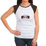 Skull & Crossbones on Red Banner Women's Cap Sleev