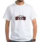 Skull & Crossbones on Red Banner White T-Shirt
