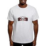 Skull & Crossbones on Red Banner Light T-Shirt