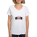 Skull & Crossbones on Red Banner Women's V-Neck T-