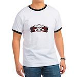 Skull & Crossbones on Red Banner Ringer T