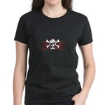 Skull & Crossbones on Red Banner Women's Dark T-Sh