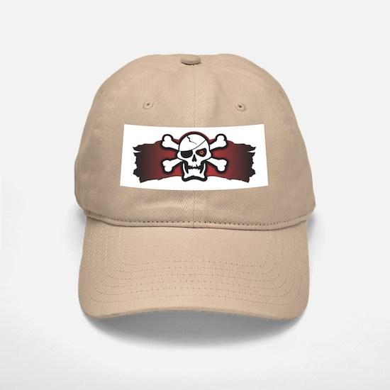 Skull & Crossbones on Red Banner Baseball Baseball Cap