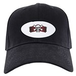 Skull & Crossbones on Red Banner Black Cap