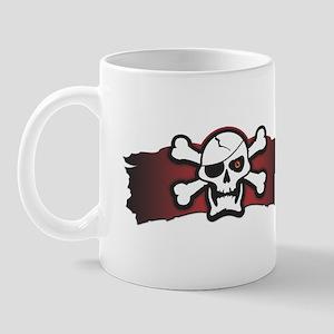 Skull & Crossbones on Red Banner Mug