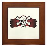 Skull & Crossbones on Red Banner Framed Tile