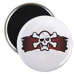 Skull & Crossbones on Red Banner Magnet