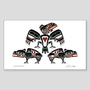 Raven & Her Bears Rectangle Sticker