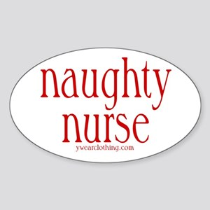 Naughty Nurse Oval Sticker