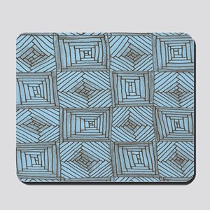 Blue and Brown Rough Squares and Diamond Mousepad