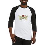Skull & Crossbones on Red Banner Baseball Jersey