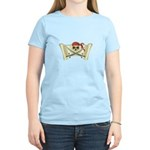 Skull & Crossbones on Red Banner Women's Light T-S
