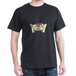 Skull & Crossbones on Red Banner Dark T-Shirt