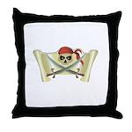 Skull & Crossbones on Red Banner Throw Pillow