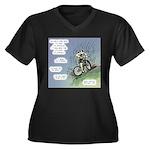 Hard Work Women's Plus Size V-Neck Dark T-Shirt