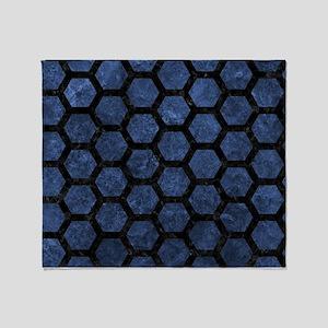 HEXAGON2 BLACK MARBLE & BLUE STONE ( Throw Blanket
