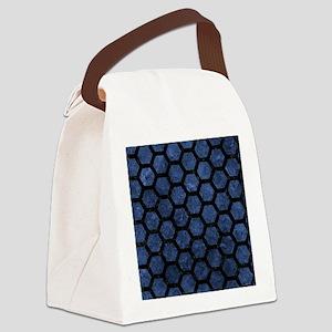 HEXAGON2 BLACK MARBLE & BLUE STON Canvas Lunch Bag