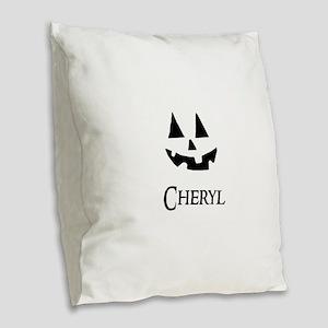 Cheryl Halloween Pumpkin face Burlap Throw Pillow